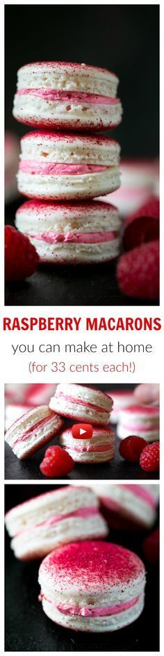 These raspberry macarons are tangy, sweet and melt-in-your-mouth amazing! Watch this step-by-step macaron video recipe to learn how to make macarons at home Macarons, Macaron Cookies, Just Desserts, Delicious Desserts, Yummy Food, Baking Recipes, Cookie Recipes, Dessert Recipes, Yummy Treats