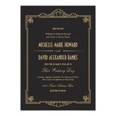Art Deco Style Wedding Invitation 5x7 250+ $1.04 each