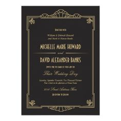 Art Deco Style Wedding Invitation 5x7 250+ $1.04 each