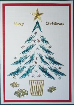 Stitched Christmas tree inspired by a card on Pinterest.