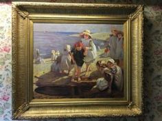 Please note Any frames provided with a picture are done so at no cost to the buyer this is because due to the fragile nature of old frames our Rustic Painting, Old Frames, Antique Art, Art Forms, Kids Playing, Seaside, Oil On Canvas, Victorian, Fine Art