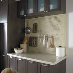 A DIY pegboard is a practical kitchen storage solution that keeps all your favourite tools within reach - diy-home-decor Kitchen Wall Storage, Kitchen Organization, Diy Kitchen, Kitchen Decor, Kitchen Pegboard, Rustic Kitchen, Pegboard Garage, Kitchen Ideas, Camping Kitchen