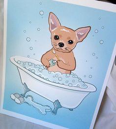Bathtime Chihuahua  EcoFriendly 8x10 Print van AfricanGrey op Etsy, $16.00