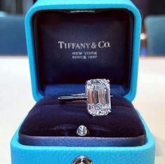 Big Engagement Rings, Emerald Cut Diamond Engagement Ring, Engagement Ring Shapes, Diamond Wedding Rings, Wedding Ring Bands, Diamond Rings, Tiffany Jewelry, Beautiful Rings, Living Rich