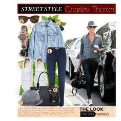 """Street Style: Charlize Theron"" by katemake ❤ liked on Polyvore featuring Vero Moda, H&M, Armitron, Zara, Diesel and LookForLess"