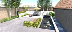 Tuin met vijver, betonlook, stadstuin