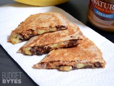 Peanut Butter Banana Quesadillas, whole wheat tortillas, spread pb on entire tortila, slice banannas thin and add some chocolate ships. Cook in skillet until slightly golden