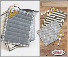 Things to make for your kitchen! Industrial-Style Oven Mitts | Sew4Home uses #Dritz #sewing grommets