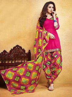 Buy Magenta Cotton Punjabi Suit 85939 online at lowest price from huge collection of salwar kameez at Indianclothstore.com.