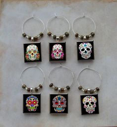 Sugar Skull Scrabble Wine Charms Beer Glass Dia de los Muertos Day of The Dead in Wine Glass Charms | eBay