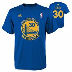 Golden State Warriors Youth Steph Curry Name & Number Road Tee-Royal
