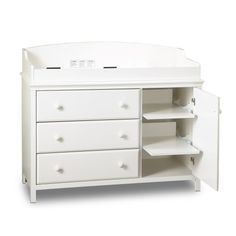 Amazon.com: South Shore Furniture, Cotton Candy Collection, Changing Table with 2 Pull-Out Shelves, Pure White: Baby