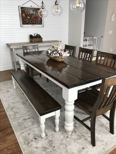 """Custom built, solid wood Modern Farmhouse Dining Furniture. 7' L x 37"""" W x 30"""" H Baluster Table with a traditional tabletop stained Dark Walnut with an Ivory painted base. Pictured with a Dianne Bench and Henry Dining Chairs."""