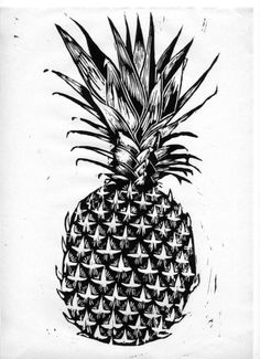 Woodcut pineapple - pineapple my favorite fruit :) Pineapple Print, Tampons, Tumblr, Graphic Illustration, Printmaking, Cool Art, Artsy, Graphic Design, Fine Art