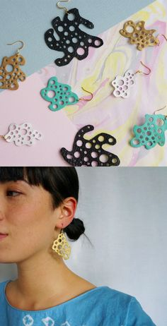 Amoeba Leather Earrings + + + Scandinazn