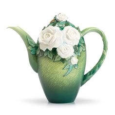Franz Porcelain Collection VAN GOGH WHITE ROSES TEAPOT FZ02569 New In Box