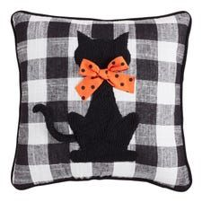 Make our throw pillow your good luck charm throughout the Halloween season. Could that polka-dot bowtie be any cuter? Halloween Party Supplies, Halloween Home Decor, Halloween Crafts, Halloween Decorations, Halloween Pillows, Halloween Quilts, Fall Pillows, Throw Pillows, Halloween Sewing