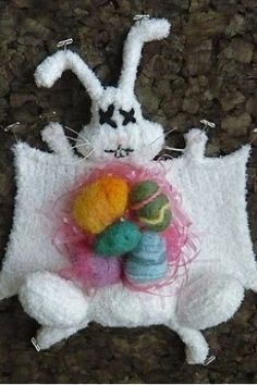 Knitted animal dissection: the Easter bunny. Totally talented and ultra-creative Etsy artist Crafty Hedgehog has finally filled that long-untapped niche: knitted animal dissections.