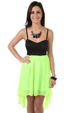 corset style neon yellow high low dress