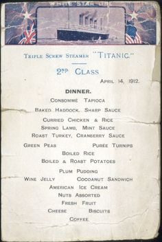 The Second-Class Menu (Titanic)
