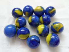 Vintage Glass Marbles BLUE & YELLOW SWIRLS Collectible marbles lot 282 #Unbranded #Glass