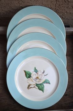 Lovely set of four salad/dessert plates by Homer Laughlin - back stamped Lifetime china Co. Turquoise. Items are in very good used vintage