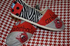 painted razorback shoes | Custom Hand Painted Arkansas Razorback Tom's Shoes by 3pinkribbons