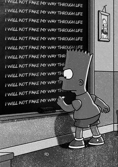 """I will not fake my way through life"" - Bart Simpsons chalkboard quotes. ""I will not fake my Simpson Wallpaper Iphone, Sad Wallpaper, Cartoon Wallpaper, Wallpaper Quotes, Simpsons Quotes, The Simpsons, Bart Simpson Chalkboard, Wallpapers Geek, Aesthetic Wallpapers"