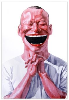 """Yue Minjun [China] (b 1962) ~ """"A smile is the language of hope"""", 2006. Lithography on paper (109 x 79 cm). 