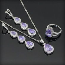 Purple Amethyst White Topaz 925 Sterling Silver Jewelry Sets For Women  Long Drop Earrings Necklace Pendant Rings Free Gift Box