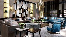 SICIS Amazing Rooms 3 Lobby Lounge, Wall Design, Living Room Decor, Interior Decorating, Art Deco, Couch, Curtains, Amazing, Table
