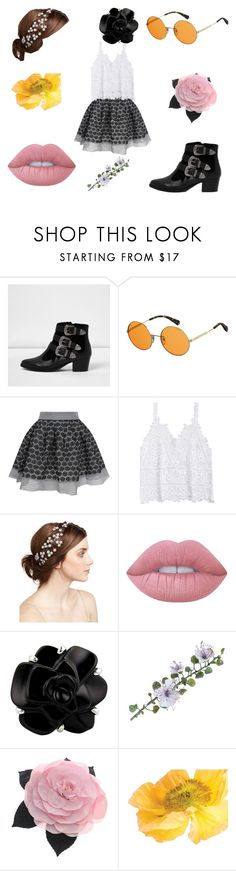 """""""Girly Town"""" by trendystylist101 ❤ liked on Polyvore featuring River Island, Polaroid, Maje, Jennifer Behr, Lime Crime and Chanel"""