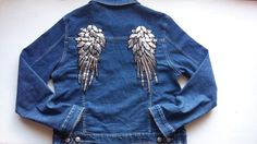 Denim Woman Oversize Jacket / Jeans Woman Jacket / Girls 90s Wings Jacket / Patched Jean Jacket / Cute Angels Girls Jacket / Gift For Woman