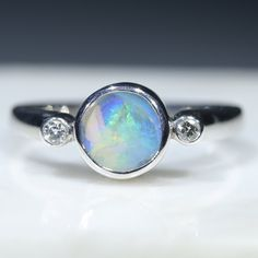 Australian Solid Boulder Opal and Diamond Silver Ring - Size 6.5 Code - RS87 Silver Opal Ring, Opal Rings, Gemstone Rings, Silver Rings, Natural Opal, Natural Diamonds, Diamond Mines, Silver Ring Designs, Opal Color