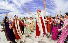 An Indian wedding is recognised by Baraat- Marriage Procession representing the Groom, his family members and friends. In a Baraat, the groom starts from his house riding on a Ghori in a procession with Wedding Bands and Fireworks.  This ritual takes place after the Tika/Ghurchadi ceremony. In this procession, all the guests keep on dancing to the latest and hit tunes of bollywood songs. The whole atmosphere is charged up with loud Music, Band, Baaza and Fireworks.