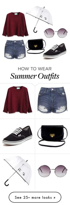 """Rainy Summer Day Outfit"" by imahautemess on Polyvore featuring Monki, Topshop, WithChic, Vans and Kate Spade"