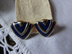 Vintage Avon Classic Triangle Enameled Pierced Earrings | SelectionsBySusan - Jewelry on ArtFire