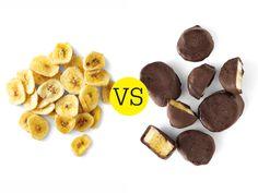 Chocolate-covered banana vs Banana chips. This is a shocker. But it makes sense.