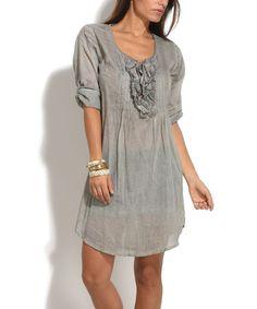 Gray Ruffle Scoop Neck Shift Dress