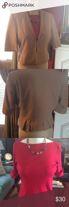 Tan 3/4 Sleeve Detailed Jacket w/ Red Top Jacket is from The Limited and is detailed with pleats including the hem of the back. See pictures!  Red top has short cuffed sleeves and adorable buttons across shoulders. Top is a Kim Rogers classic. Both in perfect condition❣ The Limited Jackets & Coats Blazers