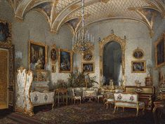 Interiors of the Winter Palace. The White Drawing-Room of Empress Alexandra Fyodorovna