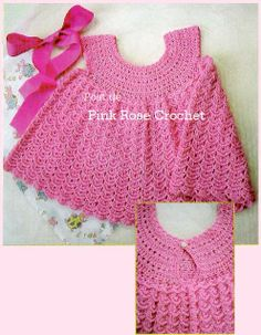 beside crochet: فستان بنوتة كروشية جميل جدا.crochet dress for litt. Crochet Girls, Crochet Baby Clothes, Crochet Woman, Cute Crochet, Crochet For Kids, Crochet Yarn, Toddler Outfits, Kids Outfits, Vestido Pink
