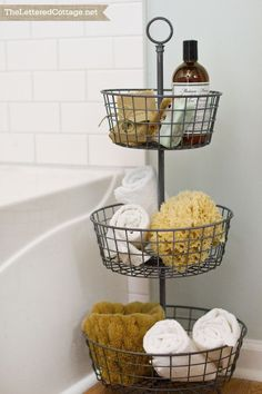 Tiered Storage | Cottage Bathroom | The Lettered Cottage - this bathroom is fabulous - the perfect feel for an awkward space.  Or the Hang-y down kind for fruit... - master bathroom