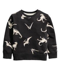 Sweater met print | Zwart/dinosaurus | Kinderen | H&M NL