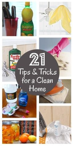 Clean kitchen cabinets: mix 1 part vegetable oil & 2 parts baking soda. Scrub with a toothbrush.  Remove rust spots from kitchen knives: soak in lemon juice.  Return air vents: apply a layer of wax to them to help repel dust.  Shower walls: fill a dish wand with half vinegar and half Dawn dish soap. Scrub the walls with the wand then rinse. by stacygalle13