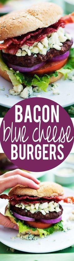 Bacon Blue Cheese Burgers | Creme de la Crumb