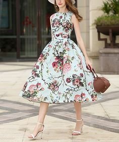 Green Floral Fit & Flare Dress
