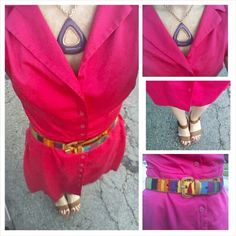 Hot pink shirt dress, multi color belt, wedges, spring outfit, summer outfit