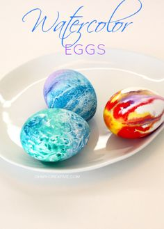 Easter Eggs Painted With Watercolor Paint | OR...you could trg and u se food coloring like a water colo. Food coloring isn't toxic.