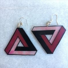 Triangle Earrings suspended from silver sterling earring hooks